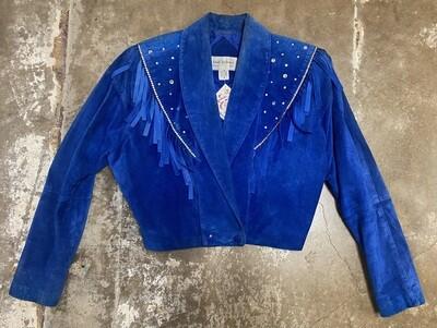 80s Embellished Blue Suede Jacket