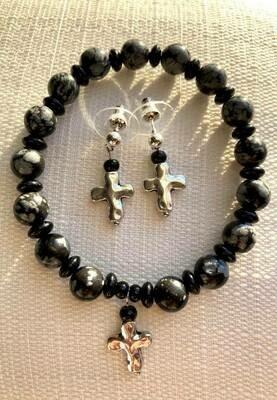 Snowflake Obsidian Cross Bracelet