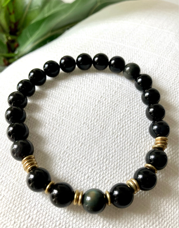 Black Obsidian and Brass Bracelet