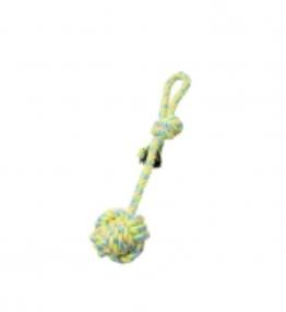 BUDZ Dog Toy Rope Monkey Fist w/Stem,Loop Green/Yellow 15''