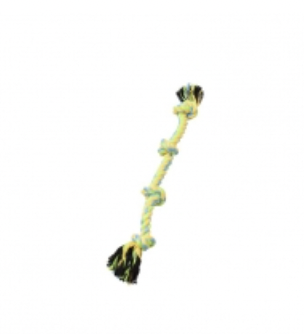 BUDZ Dog Toy Rope w/ 4 Knots Green and Yellow 15.5''
