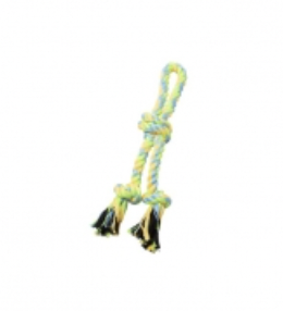 BUDZ Dog Toy Rope Double Loop,Noose Knot Green/Yellow 13.5''