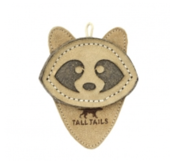 """Tall Tails 4"""" RACCOON Natural Leather Dog Toy"""