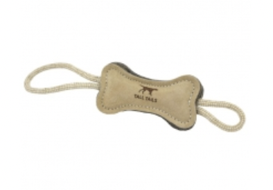 """Tall Tails 6"""" BONE Natural Leather & Wool Dog Toy"""