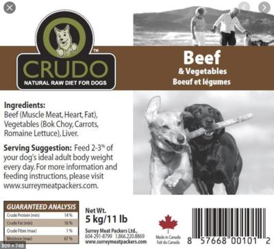 Crudo Beef & Veg 11 lb