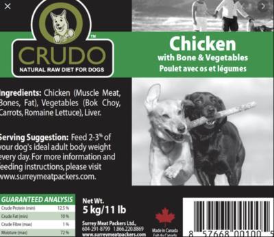 Crudo Chicken W/Bone & Veg 11 lb