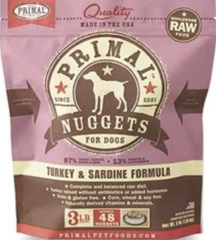 Primal Canine Raw Nuggets Turkey & Sardine 3lb