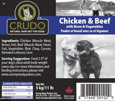 Crudo Beef/Chicken W/Bone & Veg 11 lb