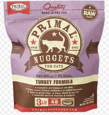 Primal Feline Raw Nuggets Turkey 3lb