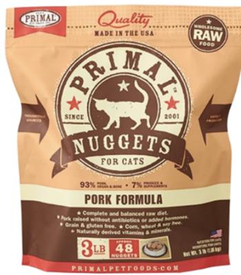 Primal Feline Raw Nuggets Pork 3lb
