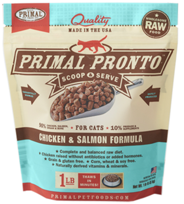 Primal Feline Raw Pronto Chicken & Salmon 1lb
