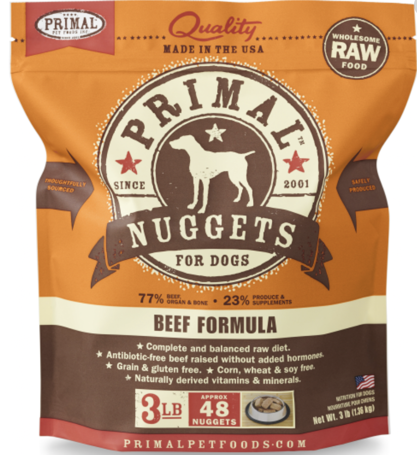 Primal Canine Raw Nuggets Beef 3lb