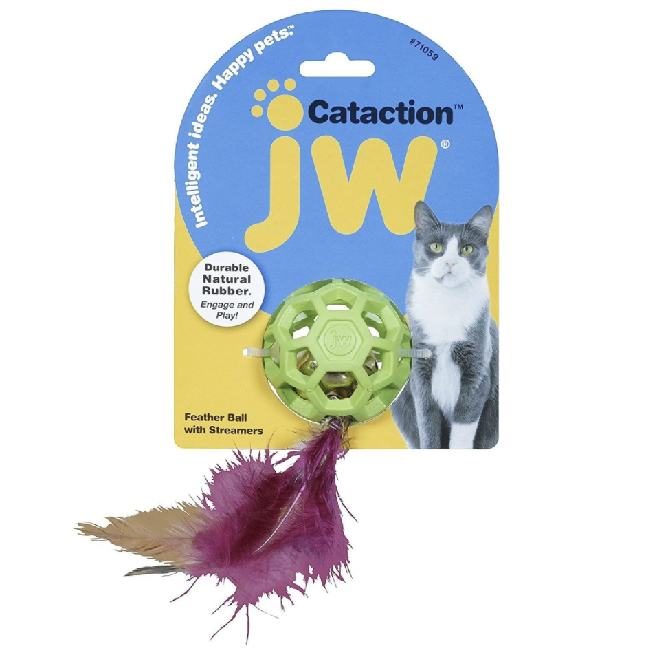 JW Cataction Feather Ball w/ Bell
