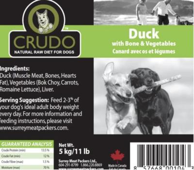 Crudo Duck W/Bone & Veg 11 lb