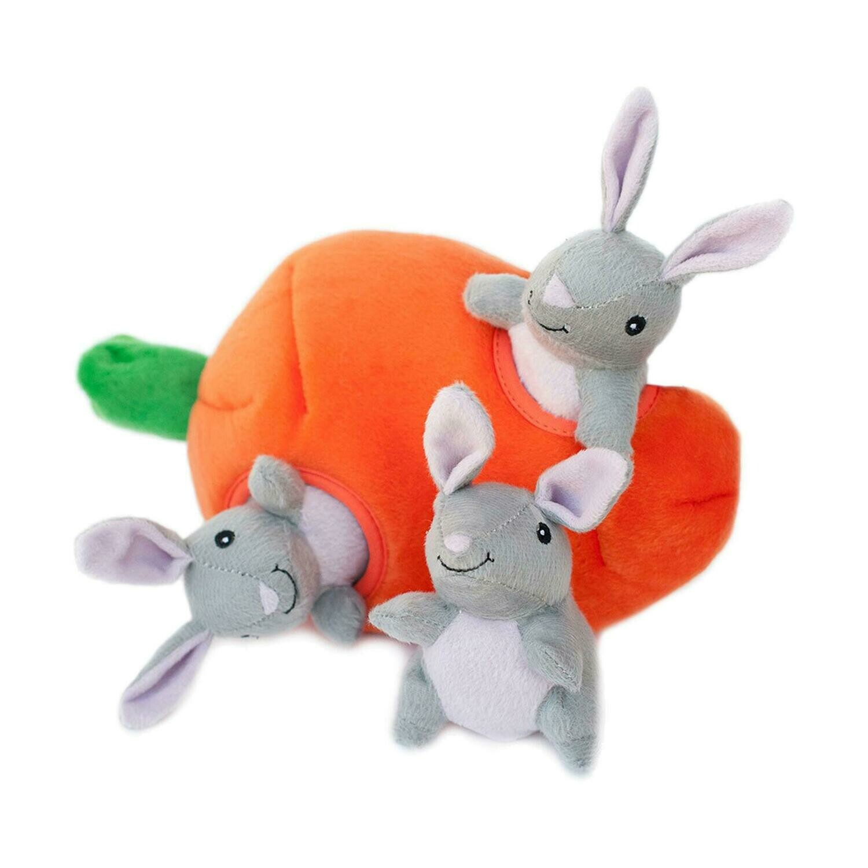 ZippyPaws Burrow Squeaker Toy Bunny n Carrot