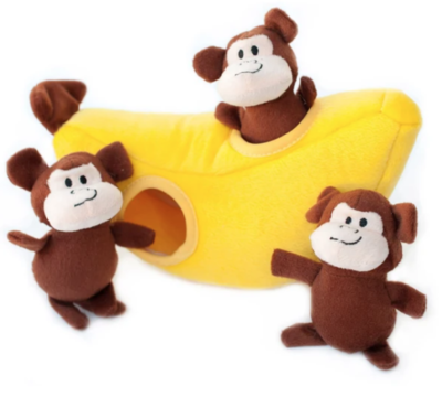 ZippyPaws Burrow Squeaker Toy Monkey n Banana