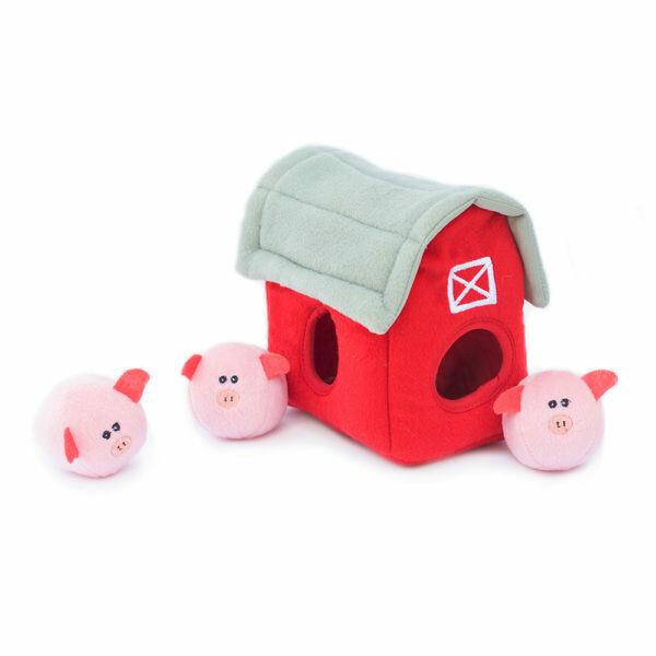 ZippyPaws Burrow Squeaker Toy Pig Barn