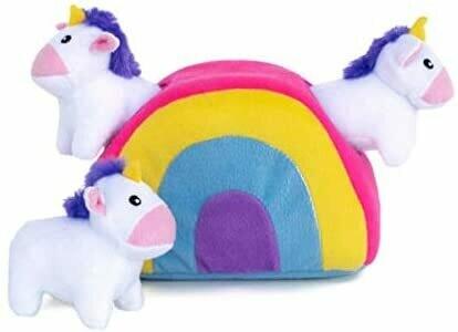 ZippyPaws Burrow Squeaker Toy Unicorns in Rainbow