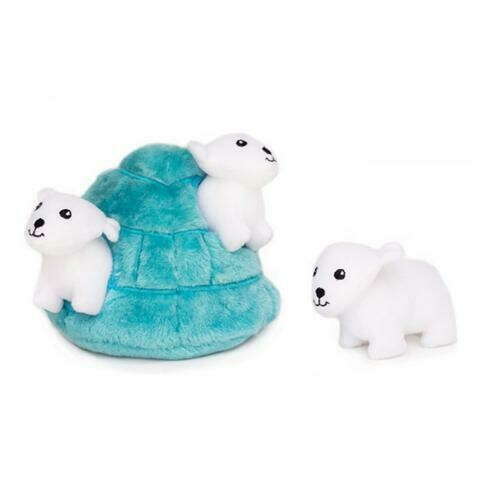 ZippyPaws Burrow Squeaker Toy Polar Bear Igloo