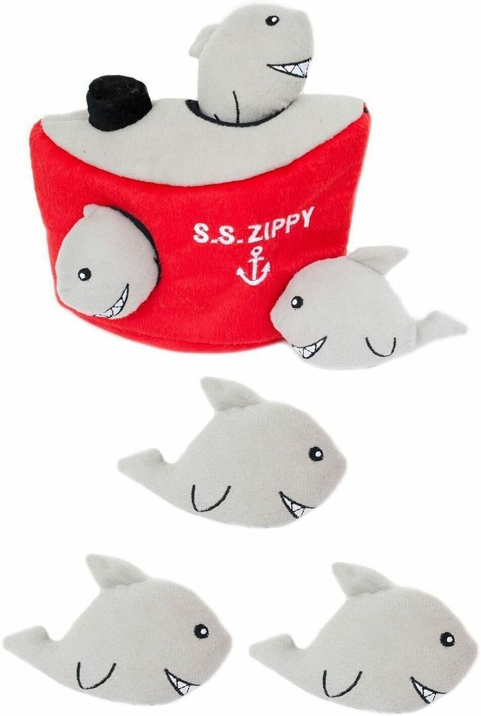 ZippyPaws Burrow Squeaker Toy Shark n Ship