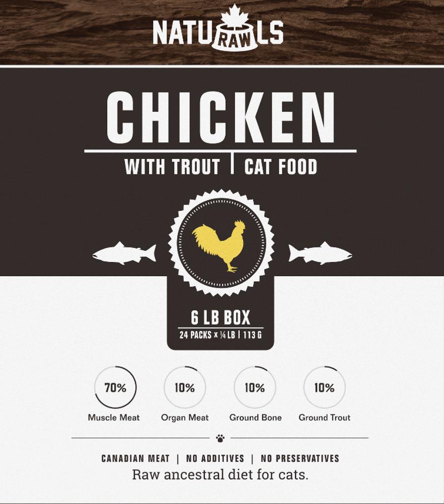 Naturawls CAT Raw Chicken & Trout 6lb Box (24 x 113g)