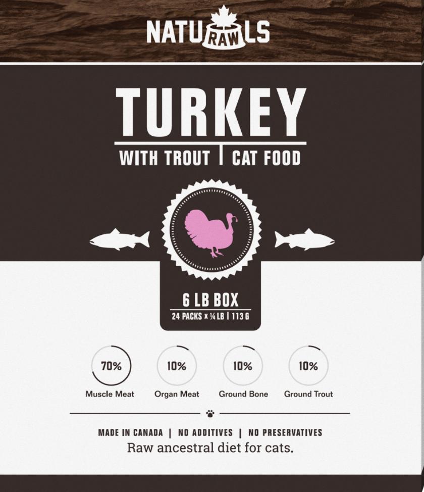 Naturawls CAT Raw Turkey & Trout 6lb Box (24 x 113g)