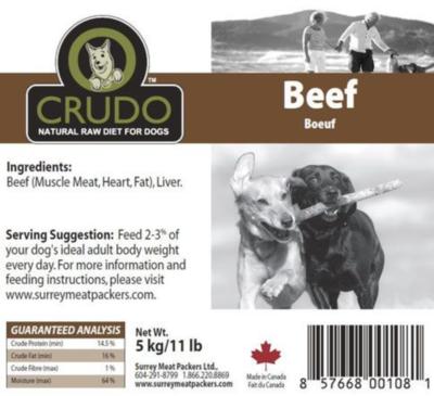 Crudo Plain Beef 11 lb