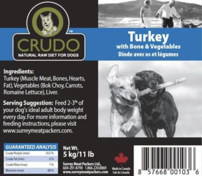 Crudo Turkey W/Bone & Veg 11 lb