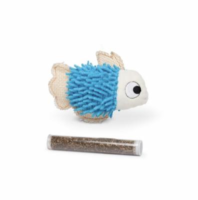 "BUDZ Blue Fish Cat Toy With Catnip Pocket & 1 Tube 4.5"""