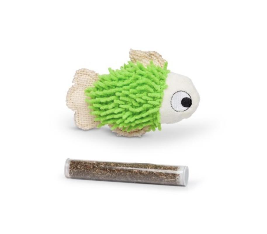 "BUDZ Green Fish Cat Toy With Catnip  4.5"""