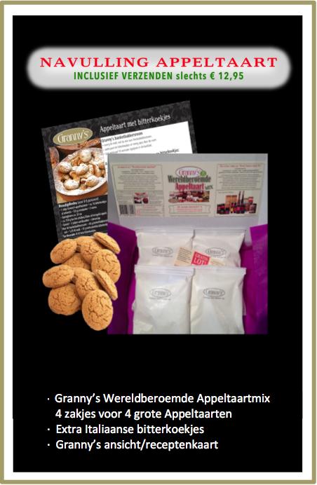 NAVULLING APPELTAARTMIX  voor 4 grote taarten, gratis verzonden!
