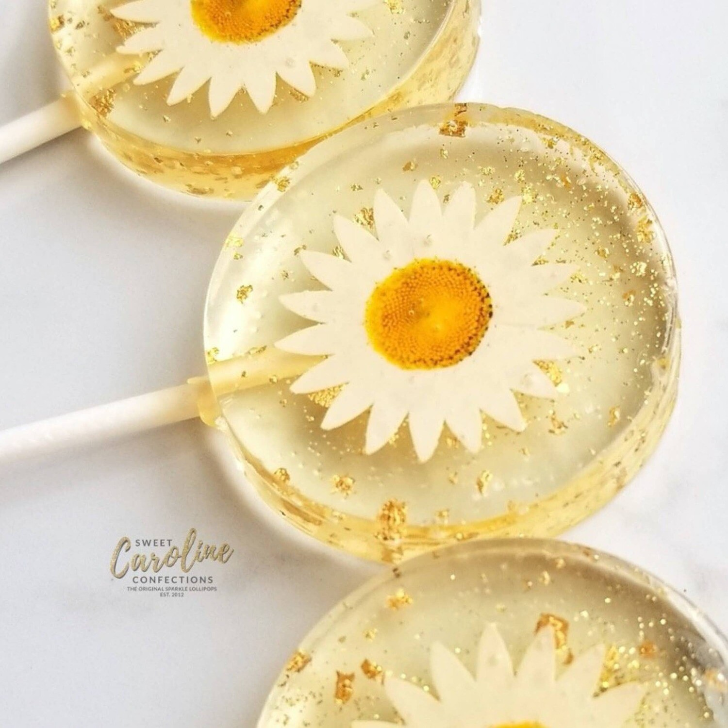 Sweet Caroline Confections - Daisy and Gold Lollipops, Mandarin Orange