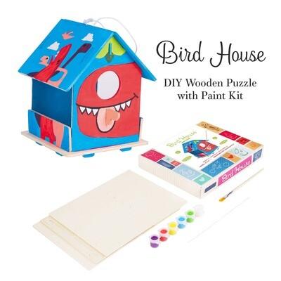 DIY 3D Wooden Birdhouse with Paint Kit