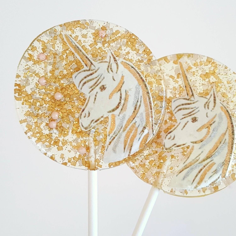 Sweet Caroline Confections - Gold & Pink Unicorn Lollipops, Strawberry