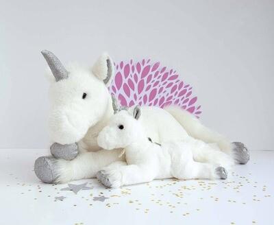 "Doudou Et Compagnie - 13.8"" Unicorn Silver Glitter Accents"