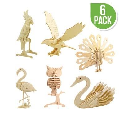DIY 3D Wooden Puzzle 6 ct, Bird Animals