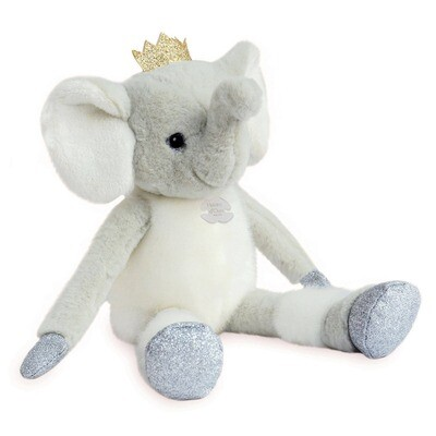 Doudou Et Compagnie - Elfy Elephant Stuffed Animal with Gold Crown
