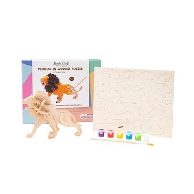 3D Wooden Puzzle Paint Kit: Lion