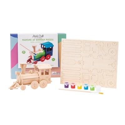 3D Puzzle with Paint Kit: Locomotive