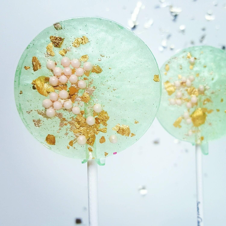 Sweet Caroline Confections - Sea Foam Green & Pink Lollipops, Pear