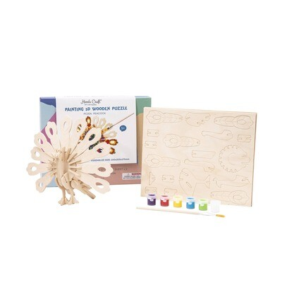 3D Wooden Puzzle with Paint Kit: Peacock