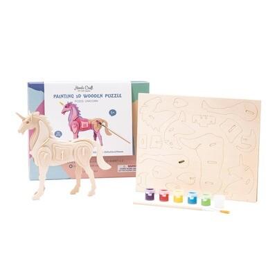 3D Wooden Puzzle Paint Kit: Unicorn