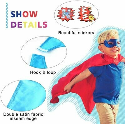 Superhero Cape, Mask, Slap Bracelet & Stickers