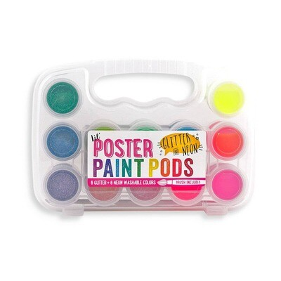 OOLY - Lil' Paint Pods Neon & Glitter Poster Paint - Set of 12
