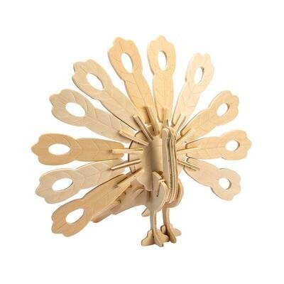 Hands Craft - JP228, 3D Wooden Puzzle: Peacock