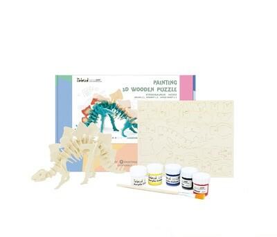 Hands Craft - HC202, 3D Wooden Puzzle Paint Kit: Stegosaurus