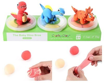 Crafty Clay - Dinosaur Theme Air Dry Modeling Clay Kit for Kids