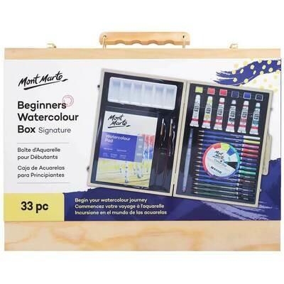 MONT MARTE Beginners Watercolour Box 33pc