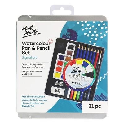 MONT MARTE Watercolour Pan & Pencil Set 21pc