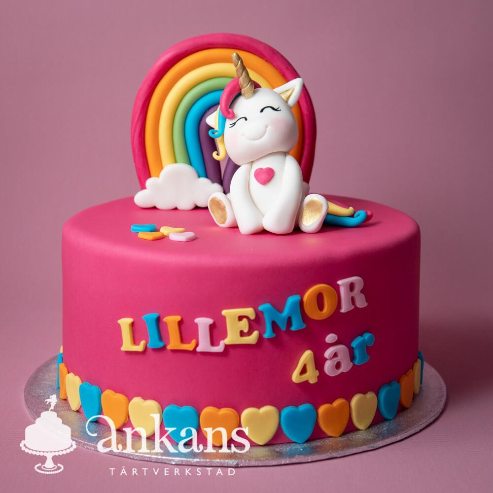 Färgglad Unicorntårta med regnbåge